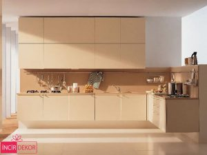 Akrilik Krem Mutfak Dolabı Modeli 1