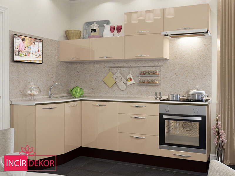 Akrilik Krem Mutfak Dolabı Modeli 4