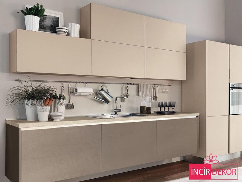 Akrilik Krem Mutfak Dolabı Modeli 6