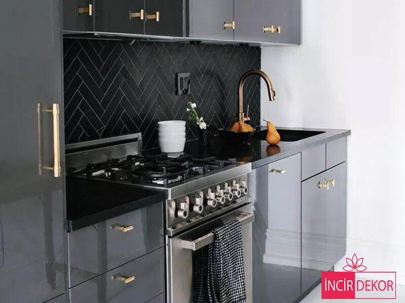Akrilik Metalik Gri Mutfak Dolabı Modeli 1