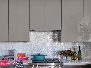 Akrilik Metalik Gri Mutfak Dolabı Modeli 4