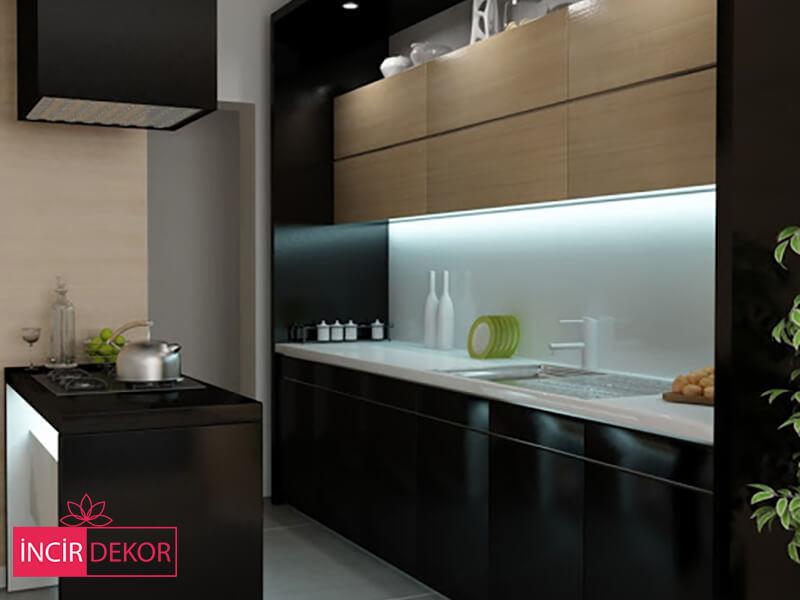 Akrilik Siyah Mutfak Dolabı Modeli 1
