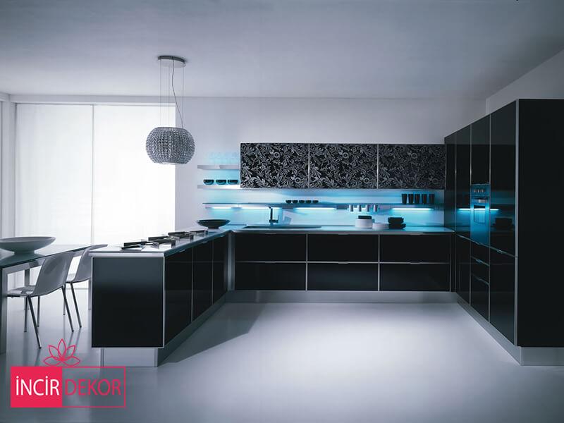 Akrilik Siyah Mutfak Dolabı Modeli 2