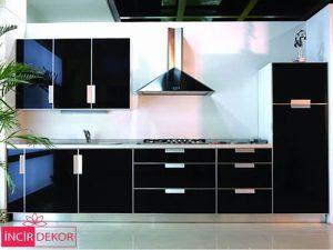 Akrilik Siyah Mutfak Dolabı Modeli 3
