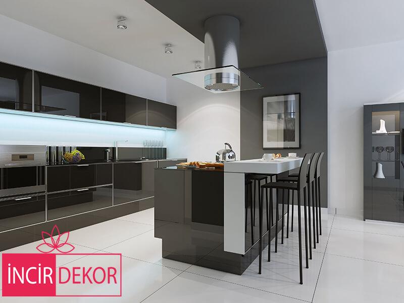 Akrilik Siyah Mutfak Dolabı Modeli 6