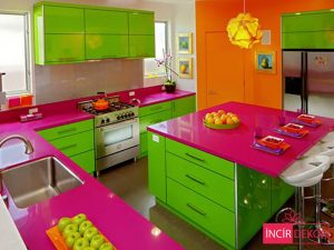 Akrilik Yeşil Mutfak Dolabı Modeli 1
