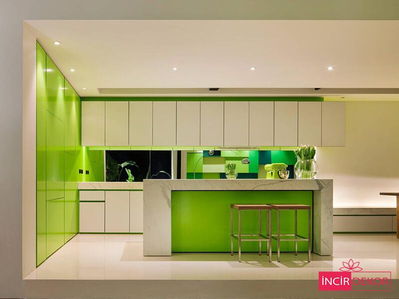 Akrilik Yeşil Mutfak Dolabı Modeli 2