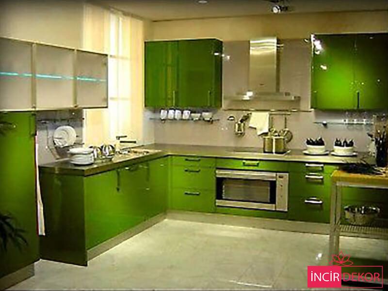 Akrilik Yeşil Mutfak Dolabı Modeli 3