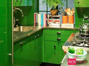Akrilik Yeşil Mutfak Dolabı Modeli 4