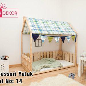 80x180 cm Çatılı Ahşap Görünümlü Çitli Montessori Yatak
