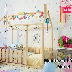 90x190 cm Çatılı Ahşap Görünümlü Çitli Montessori Yatak